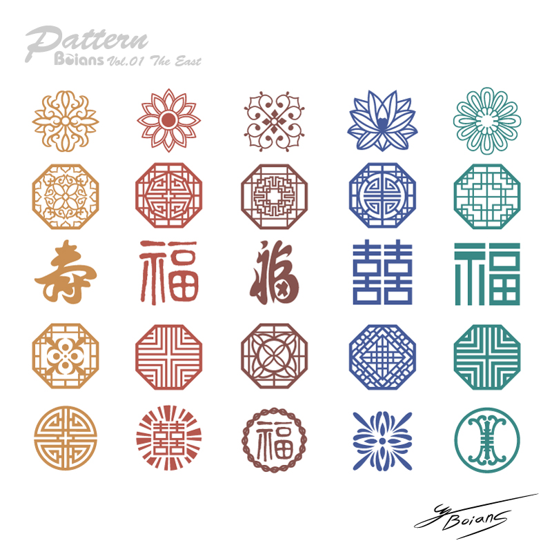 Traditional Chinese style retro pattern vector material