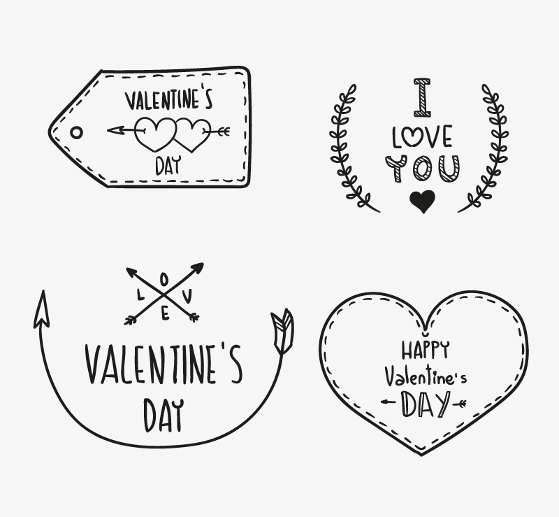 4 hand-painted Valentine WordArt vector material