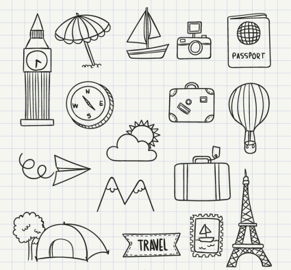 16 models of hand-painted icon vector material Travel