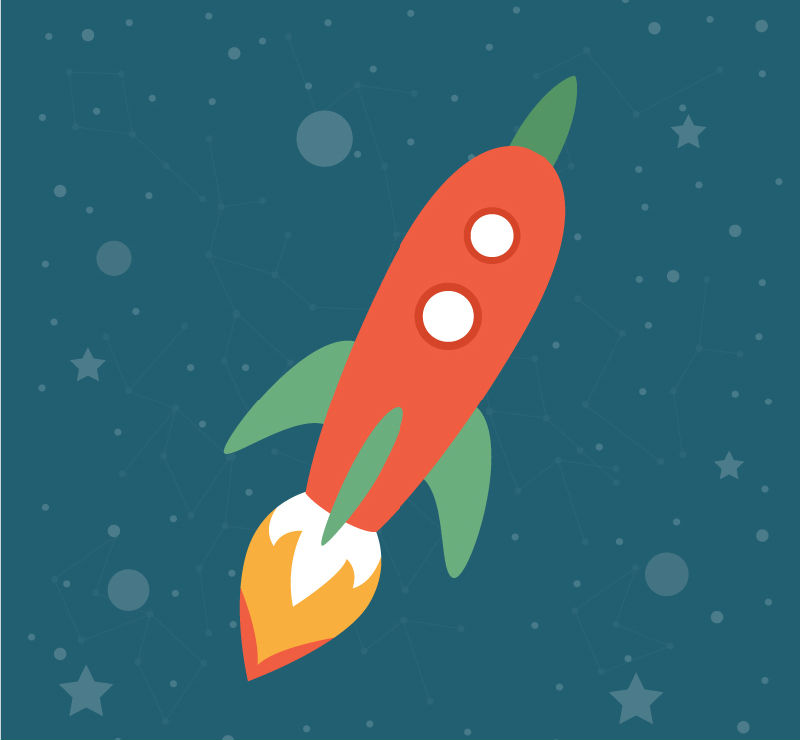 Cartoon fly into space rocket vector material