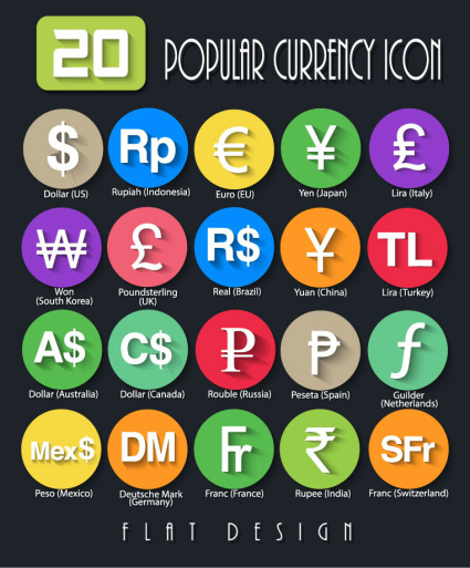 20 refined currency symbol icon vector map