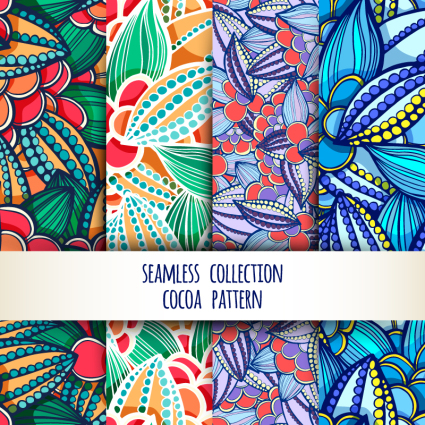 4 colorful floral seamless background vector material
