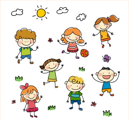7 painted children playing Vector material