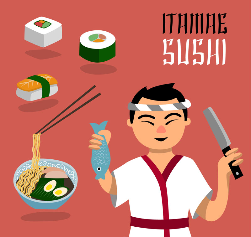 Japanese chef and food vector material