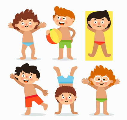 6 cute summer children's wear swimming trunks vector material