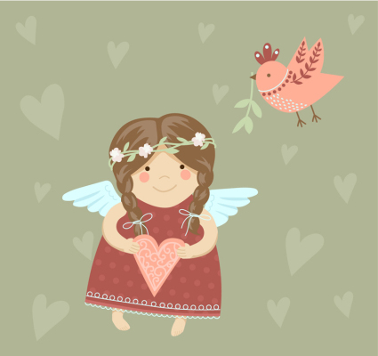 Cute angel girl and birds vector material