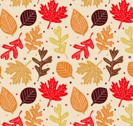 Colored autumn leaves seamless background vector material