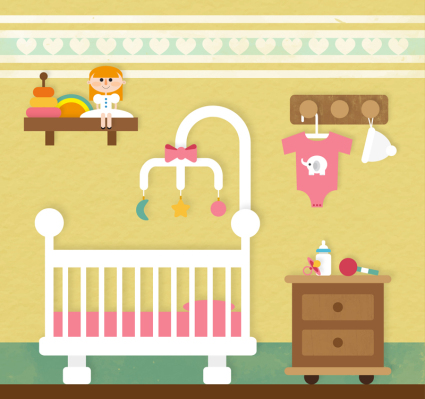 Pink baby room vector material