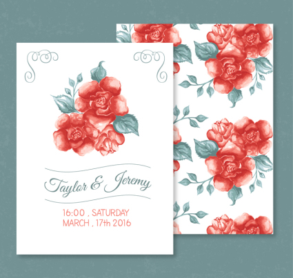 Red Rose invitation card vector material