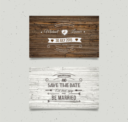 2 creative wedding invitation card vector wood