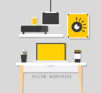 Clean design studio yellow line vector material