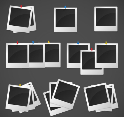 8 groups Polaroid photo vector material