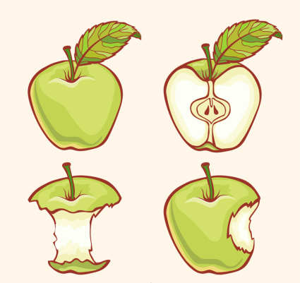 4 Vector design of green apple painting