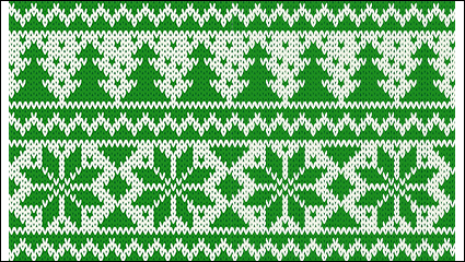 Green Christmas knitting pattern background vector material