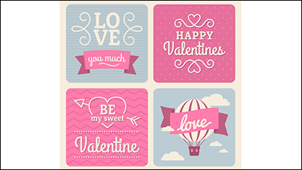 4 pink valentine cards vector material