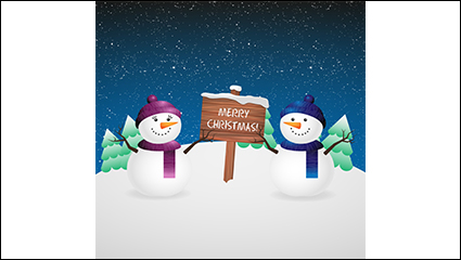 Christmas snowman with wooden sign vector material