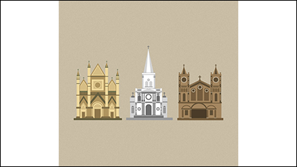 3 cartoon church design vector material