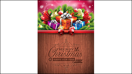 Christmas gift boxes with pine poster vector material