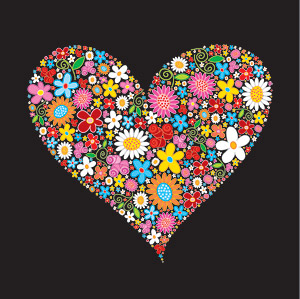 Colourful Flowers Composed Of Heart Shaped Download Free