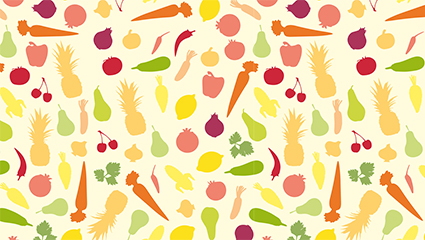 Colored vegetables and fruits seamless background vector