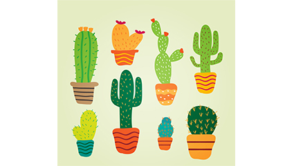 8 potted cactus vector cartoon