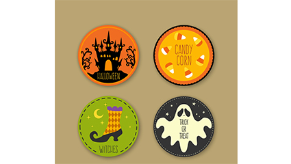 4 Round Stickers Halloween vector material
