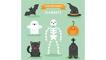 7 of cute Halloween element vector material