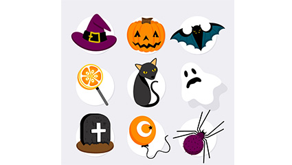 9 color Halloween stickers element vector material