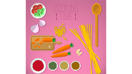 12 creative cooking element vector material