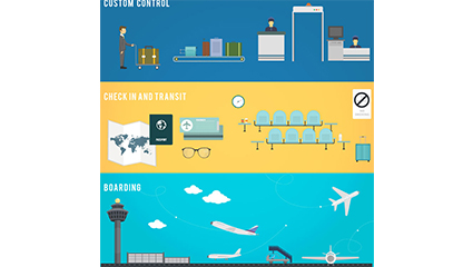 All three airports element vector material banner
