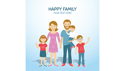 Three children happy family illustrator vector material