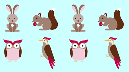 4 cartoon forest animals vector material