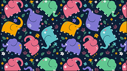 Colored elephant seamless background vector material