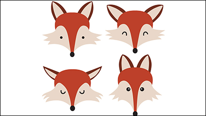 4 cartoon fox head vector material