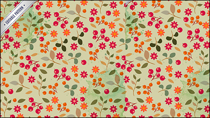 Floral seamless background with berries vector material
