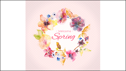 Creative watercolor spring flowers vector material