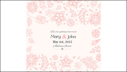 Hand-painted floral wedding invitation poster vector material