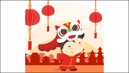 Chinese New Year lion dance little girl vector material