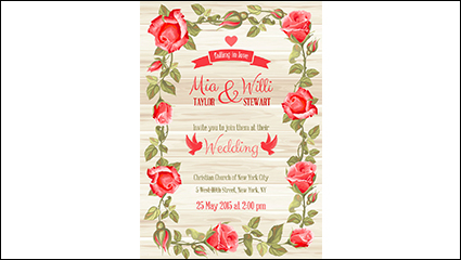 Red roses border wedding invitation card vector material