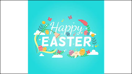 Fresh Easter greeting card vector material