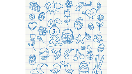 Blue painted Easter element vector material