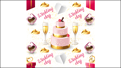 Wedding champagne and cake seamless background vector material