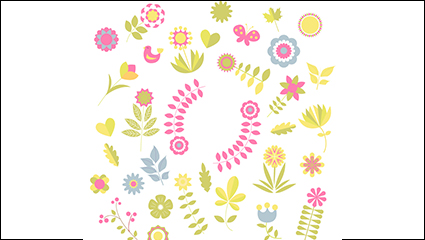 Colorful color flowers vector material