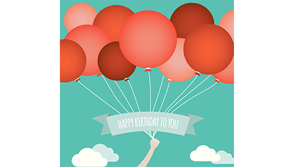 Red balloon beam birthday card Vector
