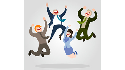 4 business people jumping vector material cheers