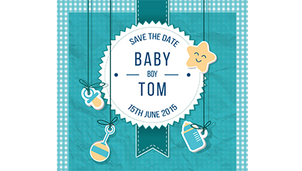 Infants and blue welcome party poster vector