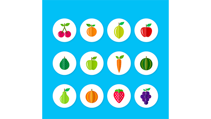 12 flat fruits and vegetables icon vector