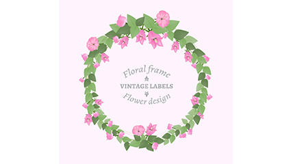 Pink wreath border vector material