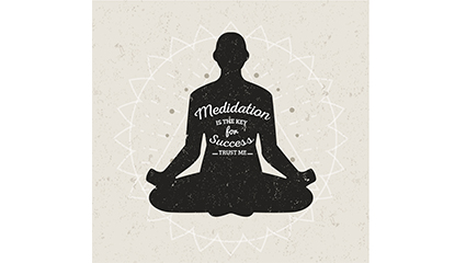 Meditation woman silhouette vector material