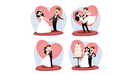 4 wedding bride and groom cartoon vector material
